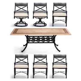 Carlisle Rectangular Cast-top Dining Table in Onyx Finish