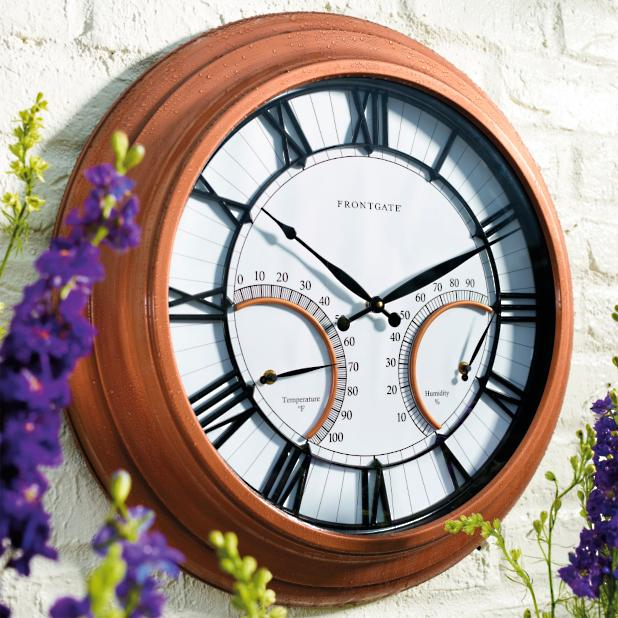 oxford outdoor clock with thermometer frontgate