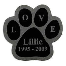 Laser Engraved Paw Print Pet Memorial Plaque