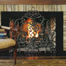 Vineyard Cast Iron Scroll Fireplace Screen