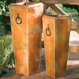 Set of Two Rustic Copper Finish Planters