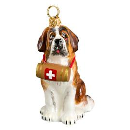 St. Bernard with Barrel Dog Ornament