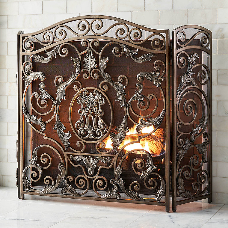 Forged Iron Fireplace Screen : Forged iron fireplace screens frontgate