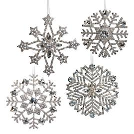 Set of 4 Crystal Snowflake Ornaments