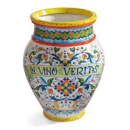 """Painted """"In Vino Veritas"""" Urn"""