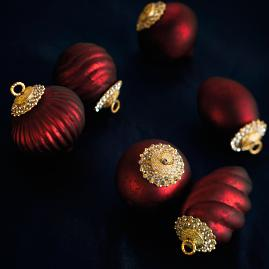 Matte Burgundy Mini Antique Ornaments, Set of Six