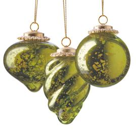 Set of Six Green Mini Antique Ornaments
