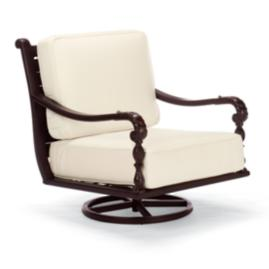 British Colonial Swivel Lounge Chair with Cushions