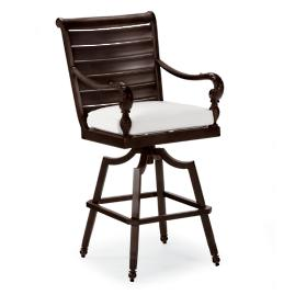 British Colonial Swivel Bar Stool with Cushion