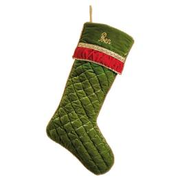 Glad Tidings Green Quilted Christmas Stocking
