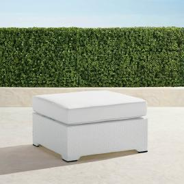 Palermo Ottoman with Cushion in White Finish