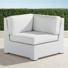 Palermo Corner Chair with Cushions in White Finish