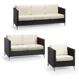 Metropolitan 3-pc. Sofa Set in Panther Finish