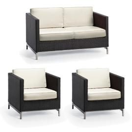Metropolitan 3-pc. Loveseat Set in Panther Finish