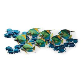 Angelfish with Blue Tangs Wall Sculpture by Copper