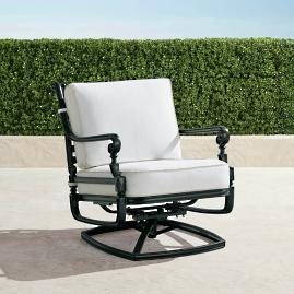 Carlisle Swivel Lounge Chair with Cushions in Onyx