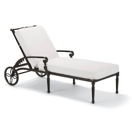Carlisle Chaise Lounge with Cushions in Onyx Finish