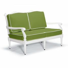 Glen Isle Loveseat with Cushions in White Finish