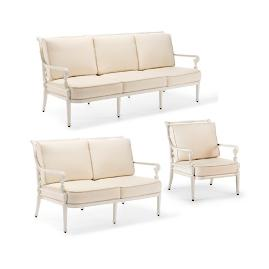 Carlisle 3-pc. Sofa Set in Parisian Ivory Finish
