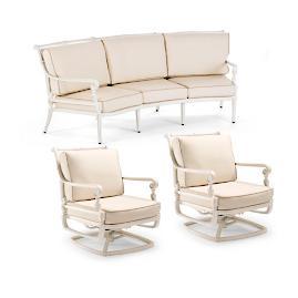 Carlisle 3-pc. Curved Sofa Set in Parisian Ivory