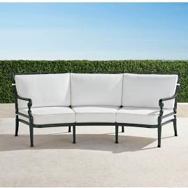 Carlisle Curved Sofa with Cushions in Onyx Finish