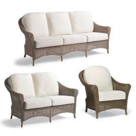 Charleston Loveseat with Cushions in Weathered Pebble Finish