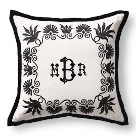 Anthemion Monogrammed Black Outdoor Pillow