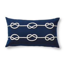 Knotted Rope Navy Outdoor Lumbar Pillow