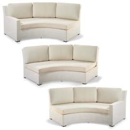 Palermo 3-pc. Curved Modular Set in White Finish
