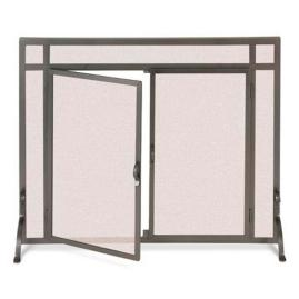 Custom Straight-top Forged Fireplace Screen - Small