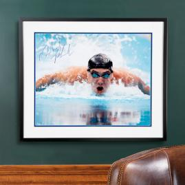 Framed Michael Phelps Autographed Photo