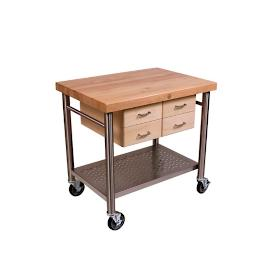 Maple & Stainless Steel Prep Cart