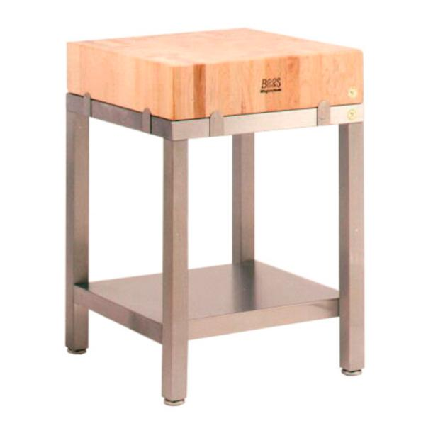 maple and stainless steel butcher block