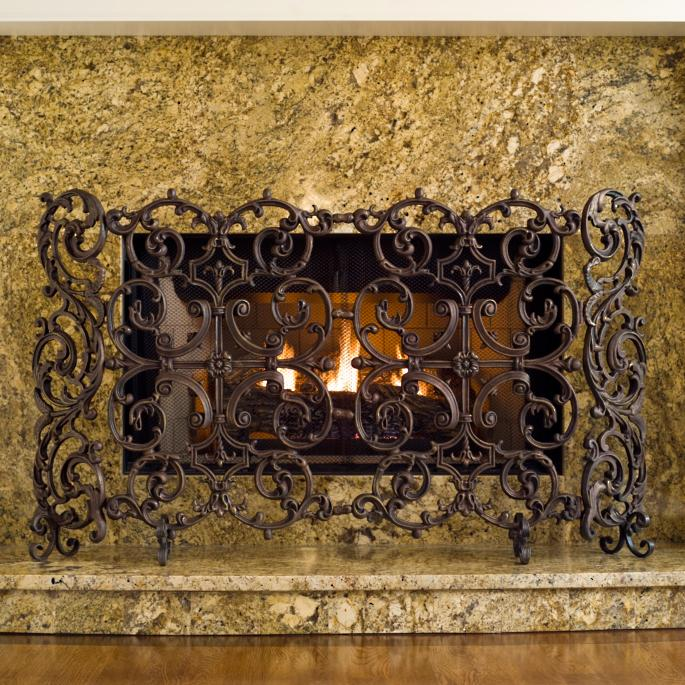 Classic Two Panel Cast Iron Fireplace Screen with Sides - Classic One Panel Cast Iron Fireplace Screen With Arch - Frontgate