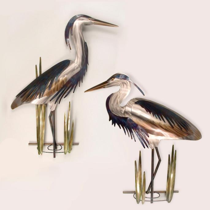 Blue Heron Outdoor Wall Sculptures - Frontgate