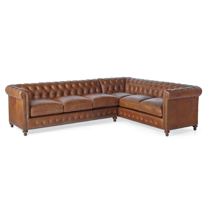 Petite Barrow Chesterfield Leather Sectional Frontgate