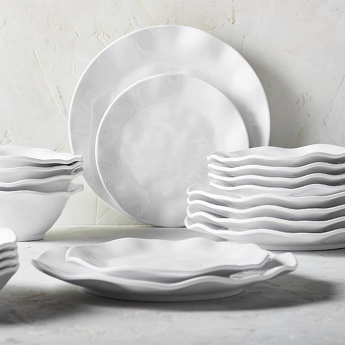 round ruffle melamine dinner plates set of four - Melamine Dishes