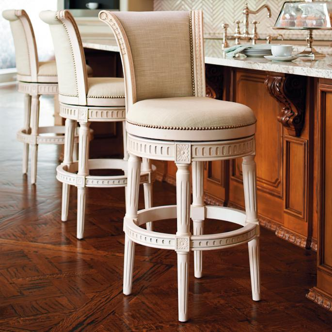 Manchester Swivel Bar And Counter Stools In Vintage White