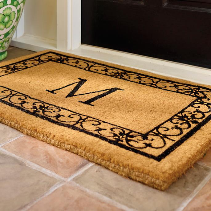 wayland 3 initial monogrammed door mat frontgate. Black Bedroom Furniture Sets. Home Design Ideas