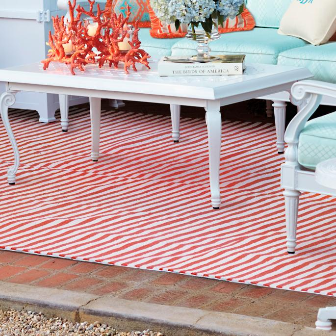 Rosston Stripe Outdoor Area Rug Frontgate