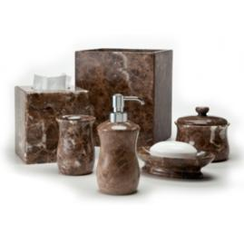 Palazzo bath accessories frontgate for Brown marble bathroom accessories