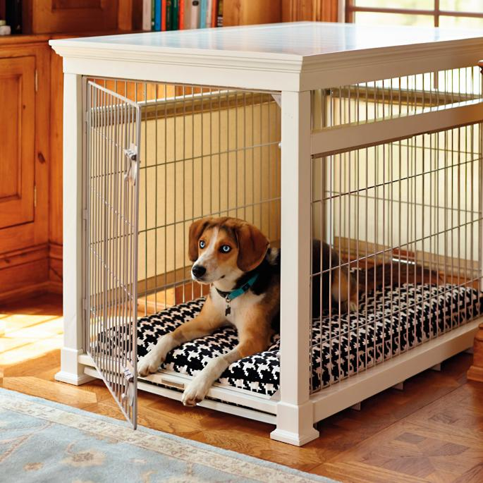 Luxury White Pet Residence Dog Crate Frontgate