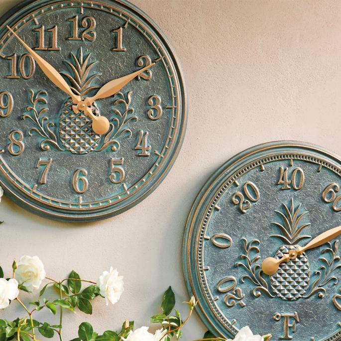 Frontgate Classic Pineapple Indoor Outdoor Clock And