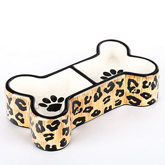 Leopard Double Diner Pet Bowl