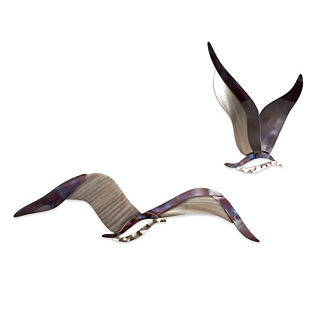 Set of Two Soaring Seagulls Wall Art