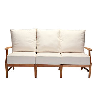 Croquet Teak Sofa with Two Pillows and Cushions by Summer Classics
