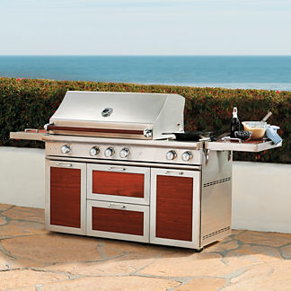 Cross-Flame Pro Grill with Wood Handles and Cart