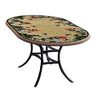KNF Caramel Hummingbird Oval Bistro Table