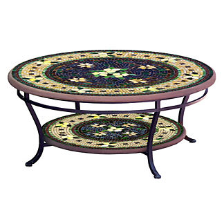 KNF Tuscan Lemons Round Double-Tiered Coffee Table
