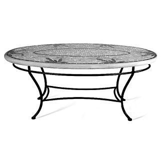 Tortoise Fleur-de-Lis Oval Coffee Table